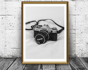 Vintage Canon Camera Print, Photo Camera Print, Photography Print, Old Camera Poster, Black and White Wall Art, Home Decor, Modern