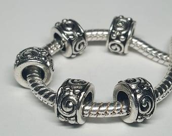 One Silver Swirl Spacer Bead for European Bracelets (item S013)