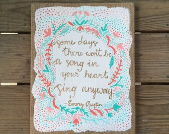 Sing Song Painted Burlap Canvas