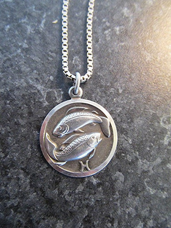 sterling silver pisces pendant necklace zodiac astrological