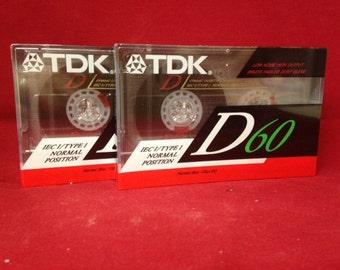 TDK D60 X 2 Blank Cassette Tapes