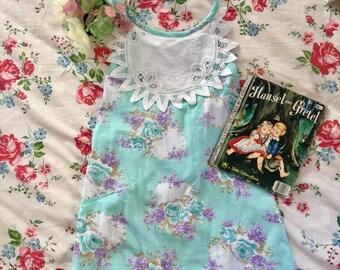 Darling Dress in Aqua Posies. Size 8