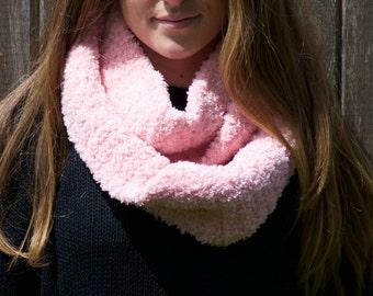 Fuzzy Pink Circle Scarf