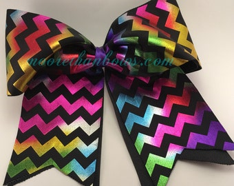 Rainbow Metalic & Black - Chevron Cheerleader Bow