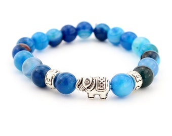 CircleSquare blue marbles with elephant bracelet