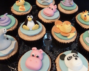 Edible Zoo Animals Cupcake Toppers