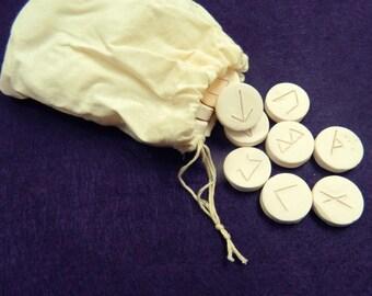White Ceramic Runes, Unglazed Ceramic Runes, Rune Set,