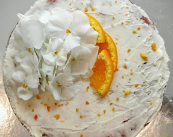 Orange Blossom Semi-Naked Gluten-Free Cake with Orange Buttercream Frosting SAN DIEGO ONLY