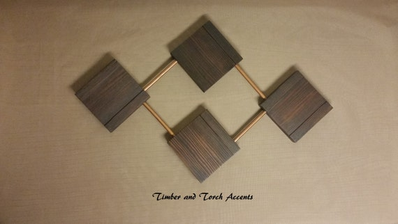 Geometric Metal Wall Decor : Abstract wood and metal wall art geometric by