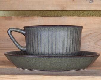 Vintage Stavangerflint NORDKAPP teacup with saucer Norway Stoneware 1960 s