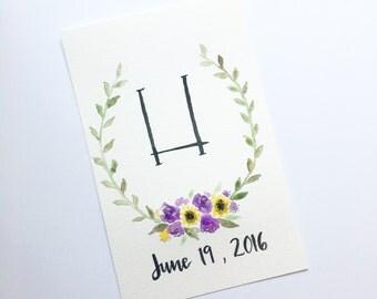 Custom Monogram Watercolor of Anniversary Date | Original | Custom Size