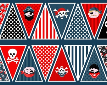 Pirate banner fabric - Boys bunting - Pirate fabric - Childrens fabric - Boys fabric - Boys room decor - fabric panel - 100% cotton