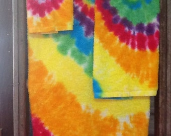 Hand dyed Bathroom towel set