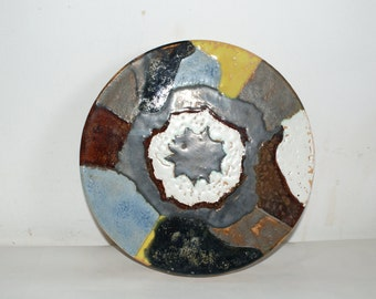 Ceramic wall plaque,Multi coloured glazes.Drilled ready for hanging,Mounted on MDF,Cornish pottery. ref P102