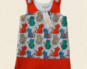 Linen girl sarafan - Linen summer dress - Red summer dress - Linen girl dress - Baby girl linen dress - Toddler girl sarafan - 2014V-014