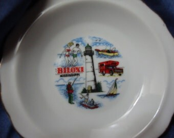Vintage Souvenir Jewelry, Coins, Trinket Dish Biloxi Mississippi