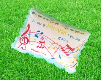 The last one! JW cushion with Bible scripture - sing praises