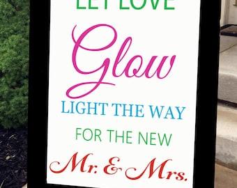 Wedding Chalkboard - Chalkboard Sign - Wedding Sign - Black Frame - Large - Let Love Glow