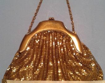 Gold Metal Purse, Whiting & Davis Co., handbag, wristlet, clutch, vintage