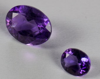 Natural Deep Purple Amethyst, Oval Pair, Oval Mixed Cut, 1.44ct Total Weight