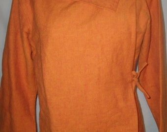 Vintage 100% Cotton Long Sleeve Orange Wrap Top Sz XL