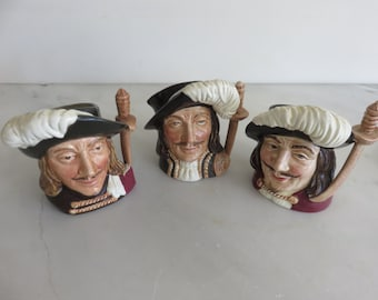 "Vintage Royal Doulton 3 Musketeers Mini 4"" Toby Jugs --set of 3"
