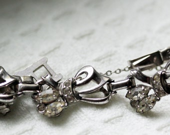 Vintage Barclay Bracelet with Bows, Clear Rhinestones & Silver Tone