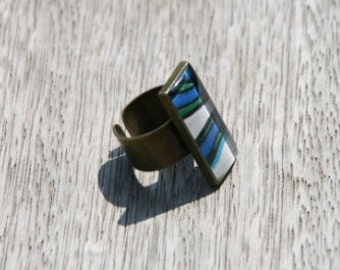 rectangle ring, fantasie, white and blue, resin, epoxy