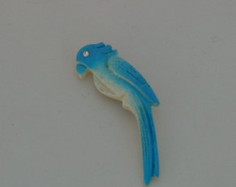 Vintage Blue Parrot Pin Brooch
