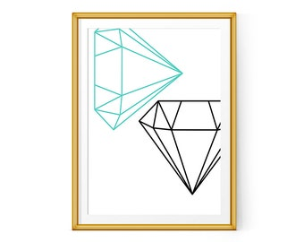 Minimalist poster printable art Diamond Wall Art Scandinavian Print Geometric Print
