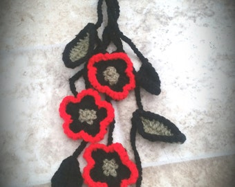 handmade black crochet necklace with poppy flowers