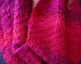 Magenta hand knitted scarf