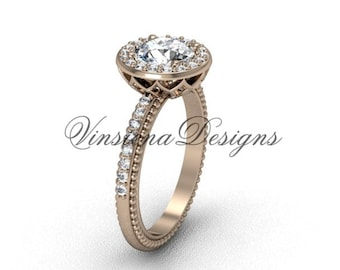 14kt rose gold diamond engagement ring VF301005