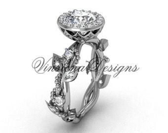platinum diamond leaf and vine engagement ring VF301018