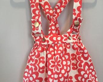 Girl's Flower Circles Skirt (Red / White) with straps