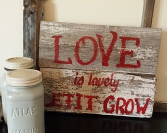 Love is Lovely  Reclaimed Wood Sign