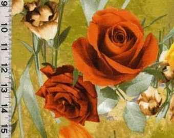1/2 Kona Bay Roses and Tulips Orange Gold Quilting Fabric