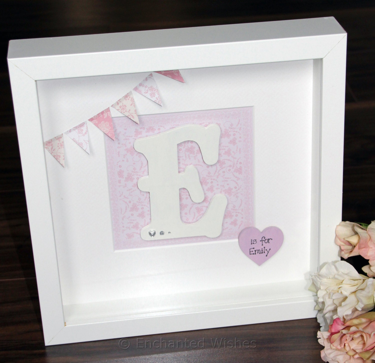 Personalised Initial Framed Letter Name Baby Girl Box