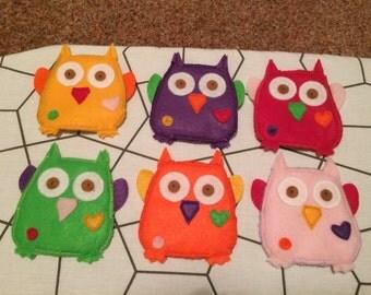 Funky owl coasters (6) mug rugs