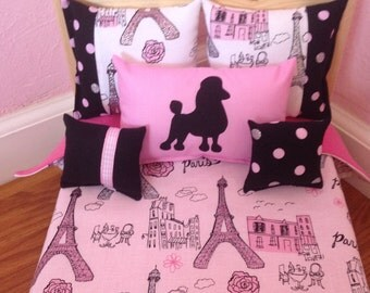 "Handmade -6-PC-bedding set Paris theme for American girl doll Grace or any 18""  dolls"