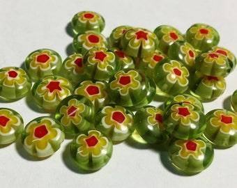 Green and yellow Millifiori beads