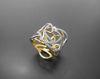 VA009,Diamond Ring, 14k Yellow Gold, 14k White Gold
