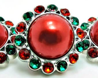 CHRISTMAS RED Pearl Buttons W/ Green & Red Surrounding Rhinestones Acrylic Rhinestone Pearl Button Brooch Bridal Bouquets 26mm 3185 31P 3 6R