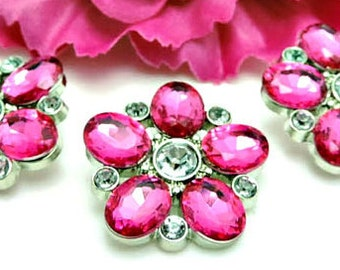 HOT PINK Flower Rhinestone Buttons Pink Acrylic Rhinestone Buttons Starburst Rhinestone Buttons Coat Buttons Fashion Buttons 25mm 3341 24R