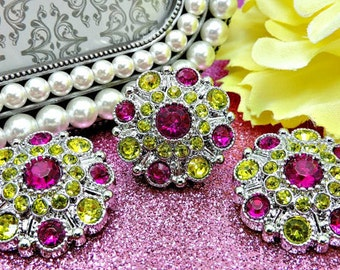 FUCHSIA & YELLOW Rhinestone Buttons Dress Coat Buttons Large Vintage Style Silver Acrylic Rhinestone Buttons Garment Button 28mm 5051 16 31R