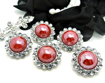 CRANBERRY Rhinestone Pearl Buttons Acrylic W/ Clear Surrounding Rhinestones Wedding Buttons Wedding Bouquets Button Brooch 26mm 3185 43P 2R