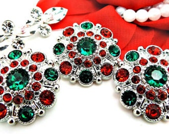Christmas Red And Green Rhinestone Buttons Large Vintage Style Silver Acrylic Rhinestone Buttons Garment Buttons 28mm 5051 3 6