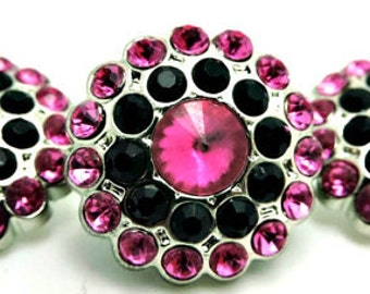 HOT PINK And BLACK Rhinestone Buttons Acrylic Rhinestone Buttons Garment Rhinestone Buttons Coat Buttons Sewing Buttons 24mm 3190 24 1 24R
