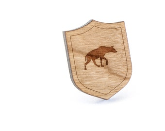 Hyena Lapel Pin, Wooden Pin, Wooden Lapel, Gift For Him or Her, Wedding Gifts, Groomsman Gifts, and Personalized