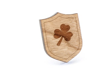 Clover Lapel Pin, Wooden Pin, Wooden Lapel, Gift For Him or Her, Wedding Gifts, Groomsman Gifts, and Personalized
